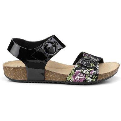Tourist Sandals - Black Patent / Brocade - Standard Fit