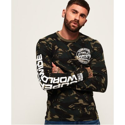 SUPERDRY Superdry Worldwide Ticket Type Langarm-T-Shirt mit Tarnmuster