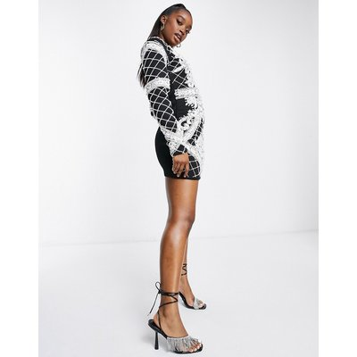 A Star Is Born embellished dress in black and white-Multi