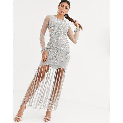 A Star Is Born embellished fringe maxi dress-Grey