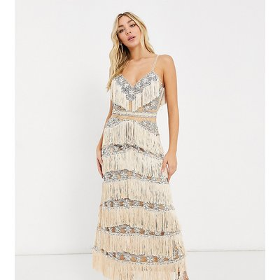A Star Is Born exclusive embellished fringe midaxi dress in silver and gold