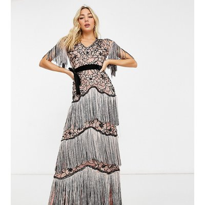 A Star Is Born exclusive embelllished floral maxi dress with fringe in pink and black