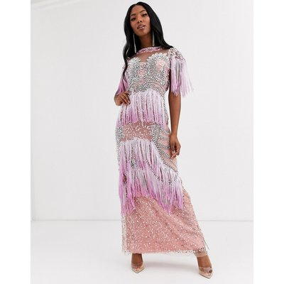 A Star Is Born fringe embellished maxi dress with sheer panels-Multi