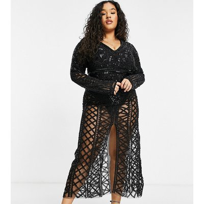 A Star Is Born Plus exclusive embellished maxi dress in black