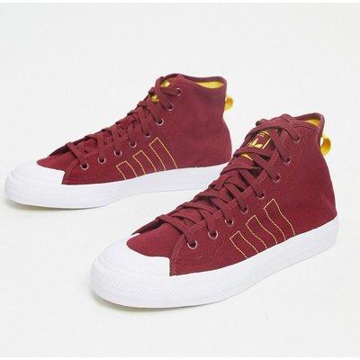 adidas Originals – Nizza Hi RF – Sneaker im Collegestil in Burgunderrot, Gelb und Weiß
