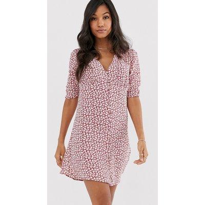 AllSaints kota scatter dress button down tea dress-Red