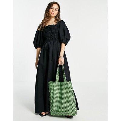AllSaints Livi lenen puff sleeve maxi dress in black
