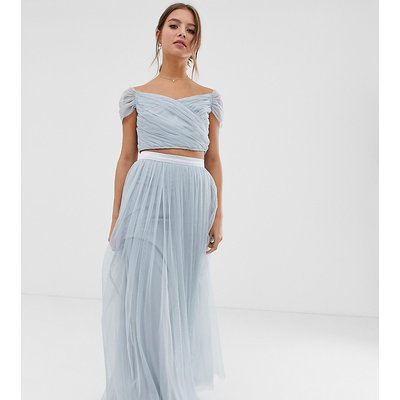 Anaya With Love tulle maxi skirt co-ord with satin trim in blue