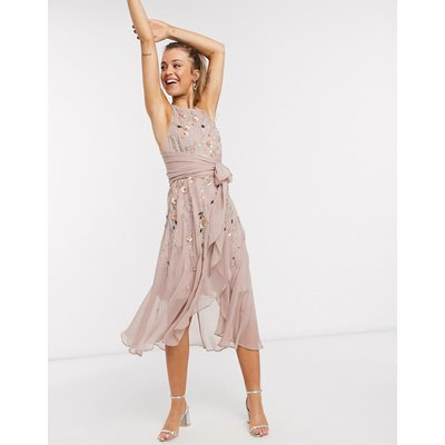 ASOS DESIGN 3D delicate floral embellished midi dress with wrap waist and soft layered skirt in blush pink