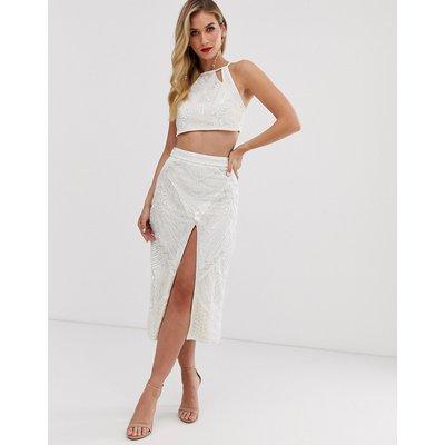 ASOS DESIGN aztec embellished midi pencil skirt co-ord with split-White