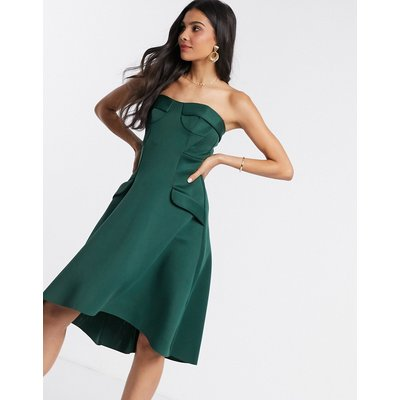 ASOS DESIGN bandeau corset cup detail midi prom dress with pocket detail-Green