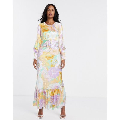 ASOS DESIGN belted maxi tea dress with balloon sleeve in floral print-Multi