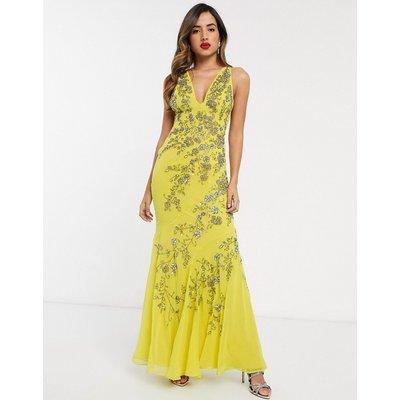 ASOS DESIGN bias cut chiffon maxi dress with floral embellishment-Yellow