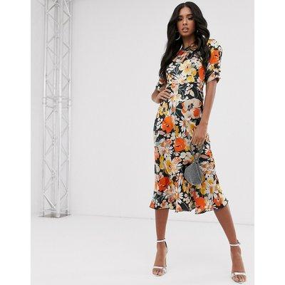 ASOS DESIGN bias midi dress with puff sleeves in satin floral print-Multi