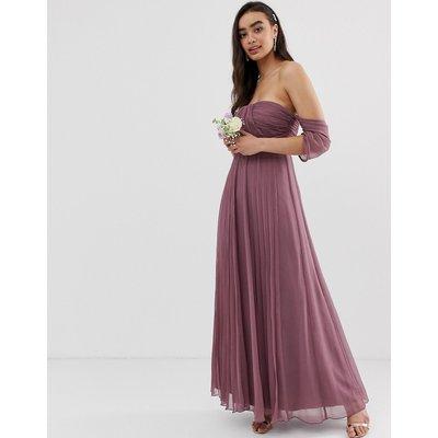 ASOS DESIGN Bridesmaid bardot ruched pleated maxi dress-Purple