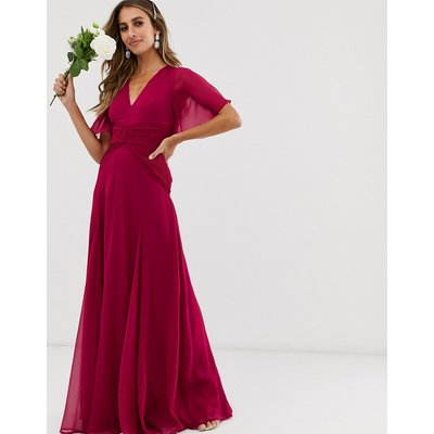 ASOS DESIGN Bridesmaid flutter sleeve maxi dress with pleated waist-Red
