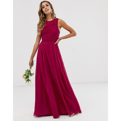 ASOS DESIGN Bridesmaid maxi dress with soft pleated bodice-Red