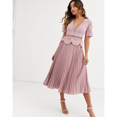 ASOS DESIGN broderie button front pleated midi tea dress in mink-Pink