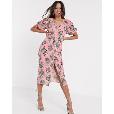 ASOS DESIGN broderie button through midi tea dress in floral print with pearl belt-Pink