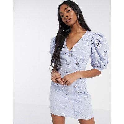 ASOS DESIGN broderie puff sleeve tea dress with diamante buttons in blue