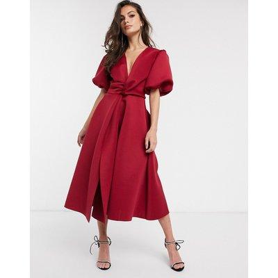 ASOS DESIGN bubble sleeve twist detail midi prom dress in deep red
