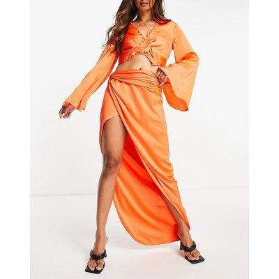 ASOS DESIGN co-ord satin pencil skirt with button detail-Orange