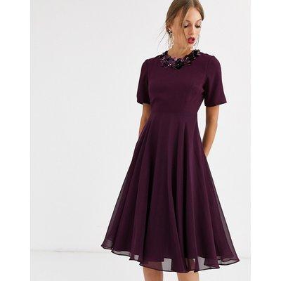 ASOS DESIGN crop top embellished neckline midi dress-Purple