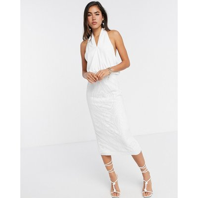 ASOS DESIGN cross neck pencil midi dress with embroidered sequin skirt-White