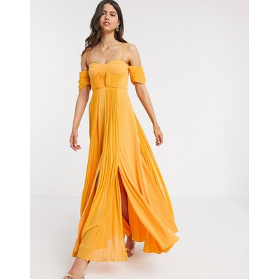 ASOS DESIGN cup detail bardot detail chiffon overlay pleated maxi dress in golden yellow-Multi