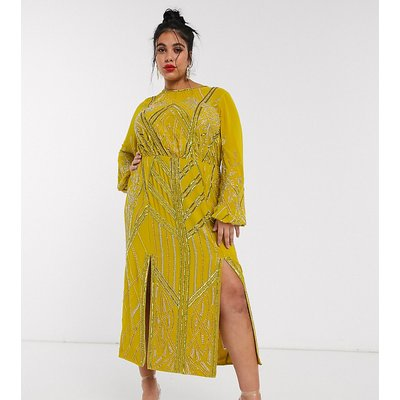 ASOS DESIGN Curve blouson linear embellished midi dress-Yellow