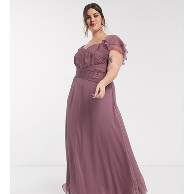 ASOS DESIGN Curve Bridesmaid short sleeve ruched maxi dress-Purple