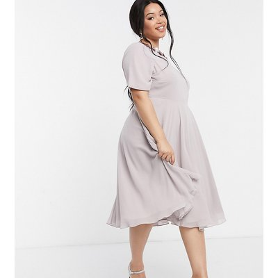 ASOS DESIGN Curve crop top embellished neckline midi dress in dusty Purple-Multi