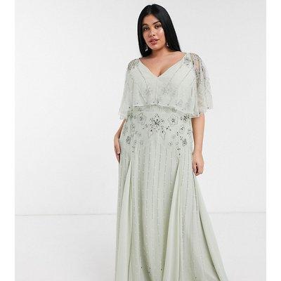 ASOS DESIGN Curve floral embellished cape maxi dress in mint-Multi