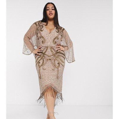ASOS DESIGN Curve kimono midi dress with delicate beaded embellishment-Brown