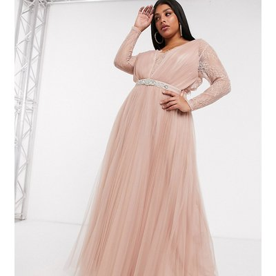 ASOS DESIGN Curve lace sleeve tulle maxi dress with embellished trim in dusty pink