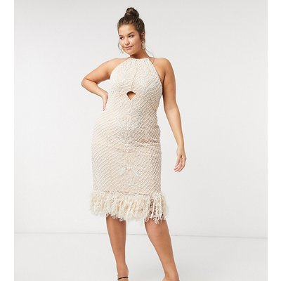 ASOS LUXE Curve high neck pearl embellished midi dress with feather hem in beige
