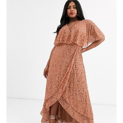 ASOS DESIGN Curve maxi dress with cape back and dip hem in scatter sequin-Gold