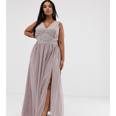 ASOS DESIGN Curve maxi dress with tulle skirt and emebllished and pearl bodice-Multi