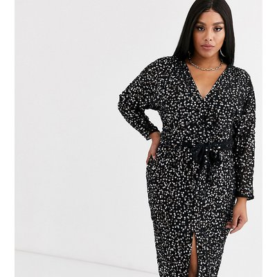 ASOS DESIGN Curve midi dress with batwing sleeve and wrap waist in scatter sequin-Black