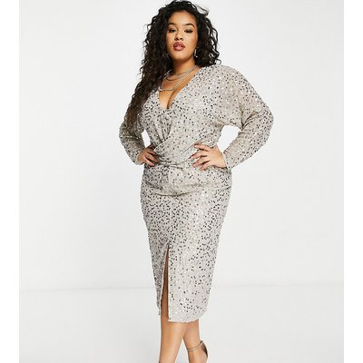 ASOS DESIGN Curve midi dress with batwing sleeve and wrap waist in scatter sequin-Gold