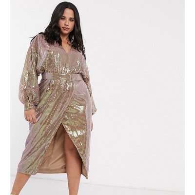 ASOS DESIGN Curve midi dress with blouson sleeve and belt in irridescent sheet sequin-Multi