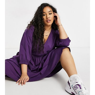 ASOS DESIGN Curve midi smock dress with wrap top in aubergine-Purple
