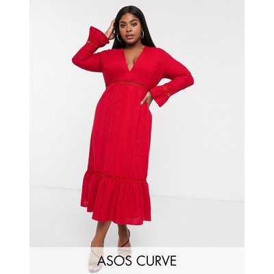 ASOS DESIGN Curve plunge broderie maxi dress with pephem and fluted sleeves-Red