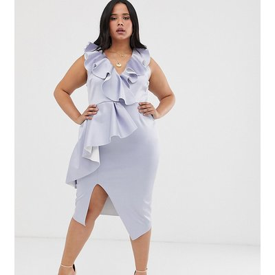ASOS DESIGN Curve plunge ruffle midi dress with waterfall skirt-Blue