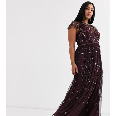 ASOS DESIGN Curve pretty embroidered floral and sequin mesh maxi dress-Multi