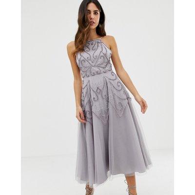 ASOS DESIGN delicate beaded backless midi dress-Multi