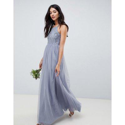 ASOS DESIGN delicate embellished strappy maxi dress-Blue