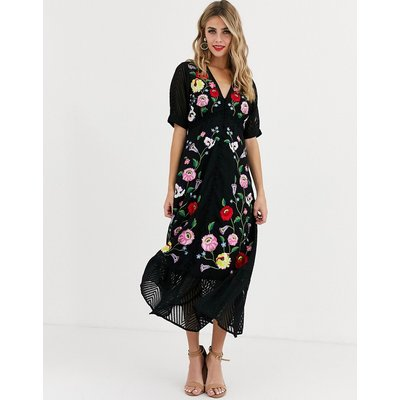 ASOS DESIGN dobby embroidered button through maxi tea dress in black