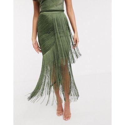 ASOS DESIGN drape fringe maxi skirt co-ord in washed satin in khaki-Green