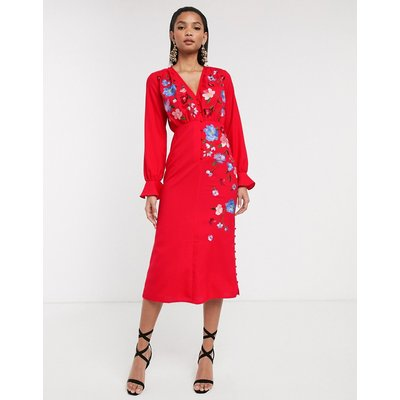 ASOS DESIGN embroidered button front midi tea dress with fluted sleeve